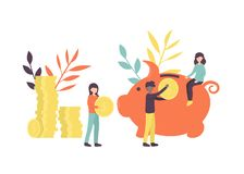 Stor spargris stock illustrationer