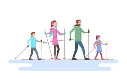 Stor sport för snö för semester för ferie för familjskidåkningvinter vektor illustrationer
