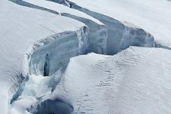 Stor spricka på den Aletsch glaciären Royaltyfria Bilder