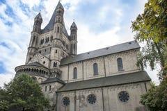 Stor St Martin Church Cologne arkivbild