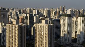 Stor stad av världen, Itaim Bibi grannskap, stad av São Paulo, Brasilien royaltyfri bild