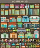 Stor stads- uppsättning stock illustrationer