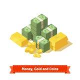 Stor staplad hög av kassa Några guld- stänger och mynt royaltyfri illustrationer