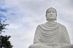 Stor staty av en vit Buddha i lotusblommaposition Arkivfoton