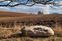 Stor sten bredvid det plogade fältet i tidig vår Fotografering för Bildbyråer