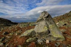 Stor sten med en framsida i den Jotunheimen nationalparken Norge Arkivbilder