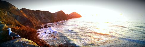 Stor Sur kustlinje på solnedgången Arkivfoto