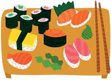 Stor sushi- och Sashimiuppsättning på trämagasinet Arkivbild
