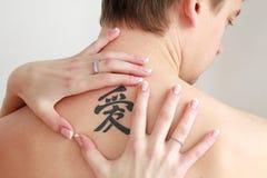 stor tät tatuering upp Arkivfoton