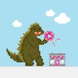 Stor tecknad filmdinosaurie som anfaller illustrationen för munkkafévektor stock illustrationer