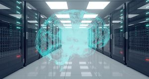 Stor tekniskt avancerad serverdatorhall med det reflekterande golvet och Plexu vektor illustrationer