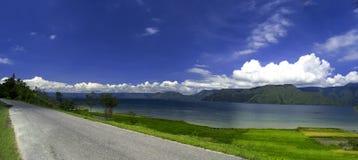 Stor Toba panorama, Samosir ö. Fotografering för Bildbyråer