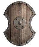 Stor träsköld med isolerade illustrationen 3d för metall den ram stock illustrationer