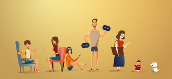 Stor traditionell illustration för familjbegrepp av familjståenden Plan design av fadern och modern med deras barn och stock illustrationer