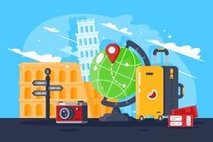 Stor tur runt om världen royaltyfri illustrationer