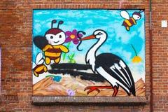 Stor und Bienen Stockbild