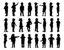 Stor uppsättning av barn som står konturer 1 Royaltyfria Foton