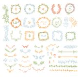 Stor uppsättning av blom- beståndsdelar för grafisk design stock illustrationer