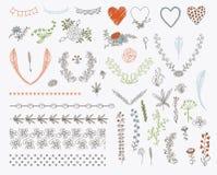 Stor uppsättning av blom- beståndsdelar för grafisk design Arkivbilder