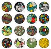 Stor uppsättning av bollar med tryckmodeller. Royaltyfria Bilder
