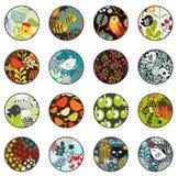 Stor uppsättning av bollar med tryckmodeller stock illustrationer