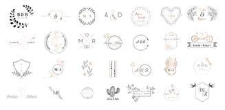 Stor uppsättning av bröllopmonogramlogoer samling, hand drog moderna minimalistic och blom- mallar för inbjudankort stock illustrationer