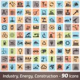 Stor uppsättning av bransch-, teknik- och konstruktionssymboler stock illustrationer