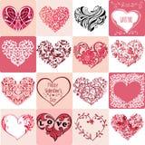 Stor uppsättning av dekorativa rosa hjärtor Kan användas för inbjudningar, Royaltyfria Bilder