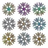 Stor uppsättning av den collorful metalliska futuristiska snöflingan som isoleras på vit bakgrund stock illustrationer