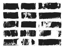 Stor uppsättning av den rektangulära textasken Grungemålarfärgband Vektorborsteslaglängd Svarta grungefläckar med stället för din royaltyfri illustrationer