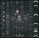 Stor uppsättning av drog designbeståndsdelar för vektor dekorativ hand vektor illustrationer
