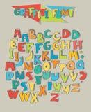 Stor uppsättning av färgrika grafittibokstäver som isoleras på beige bakgrund Bokstäver ordnar från olika färgversioner fo för A  stock illustrationer