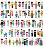 Stor uppsättning av familjeliv i stillägenhetdesign Arkivfoton
