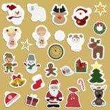 Stor uppsättning av festliga barns julklistermärkear stock illustrationer
