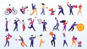 Stor uppsättning av folk som isoleras på vit bakgrund vektor illustrationer