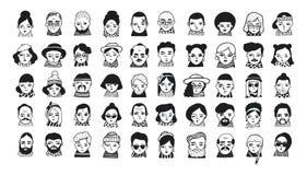 Stor uppsättning av folkavatars för socialt massmedia, website Flickor och grabbar för klotterstående trendiga Dragen moderiktig  stock illustrationer