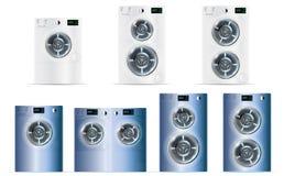 Stor uppsättning av Front Load Double White och blåttstål som tvättar Machin Arkivfoton