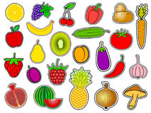 Stor uppsättning av frukt och grönsaker Arkivbilder