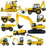 Stor uppsättning av gula skurkrollmaskiner - jordning arbetar Royaltyfri Bild
