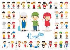 Stor uppsättning av 45 gulliga tecknad filmsporttecken för ungar Roliga tecknad filmpojkar royaltyfri illustrationer