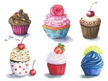 Stor uppsättning av gulliga vattenfärgmuffin stock illustrationer