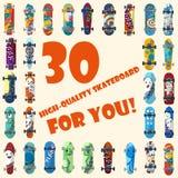 Stor uppsättning av 30 högkvalitativa skateboarder och skateboarding beståndsdelgatastil Arkivfoto