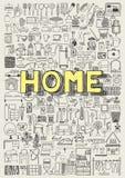 Stor uppsättning av hand drog symboler för hem- anordning Hemklotter Arkivbild