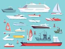Stor uppsättning av havsfartyg och små fiskeskepp Segelbåtar sänker vektorsymboler royaltyfri illustrationer