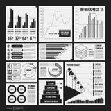 Stor uppsättning av infographicsbeståndsdelar i svartvita färger Arkivfoton