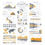Stor uppsättning av infographicsbeståndsdelar Vektorillustration för busine Arkivbild