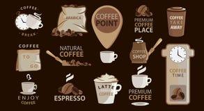 Stor uppsättning av kaffeemblem eller klistermärkear med kaffeillustrationer logotyper Arabica espresso, latte Stor vektorsamling royaltyfri illustrationer