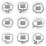 Stor uppsättning av konst för pop för stil för bakgrund för prick för svart för fredag mall komisk för text för anförande bubbla  stock illustrationer
