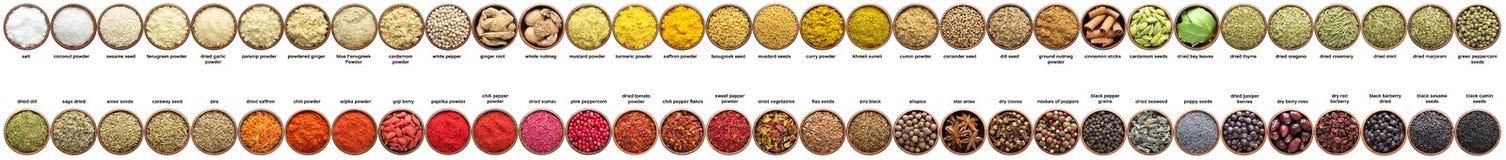 Stor uppsättning av kryddor som isoleras på vit samlingssmaktillsatser in Fotografering för Bildbyråer