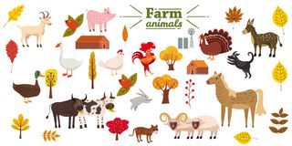 Stor uppsättning av lantgårddjur, svin, kanin, ko, tjur, katt, hund, gås, and, kalkon, åsna, get, får, RAM som är modernt vektor illustrationer